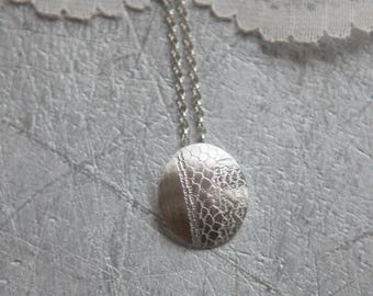 White Lace Long Silver Pendant - Brushed Silver Necklace - Minimalist Jewellery for Wedding gifts