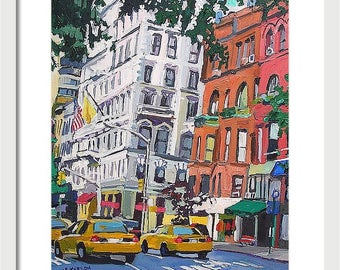 Madison Avenue Upper East Side NYC Painting  New York Art Wall Decor 8x10, Cityscape Painting by Gwen Meyerson
