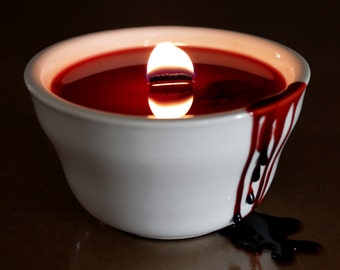 Halloween Candle, Red Candle, Gothic Candle, Gothic Home Decor, Bloody Horror Decoration Idea