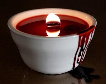 Halloween bougies, bougie rouge, bougie gothique, Gothic Home Decor, idée de décoration de l'horreur sanglante