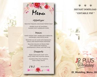instant download rustic floral wedding menu printable bridal shower menu cards wedding menu template