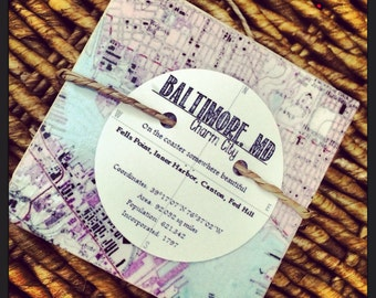 Baltimore Maryland Vintage Map Stone Coaster Set  - Free Shipping!