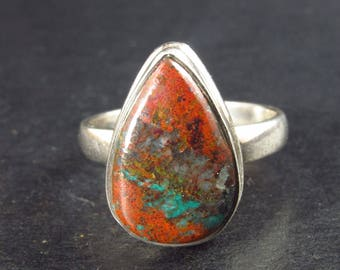 Crimson Cuprite (w/ Chrysocola) Sterling Silver Ring From Mexico - Size 8