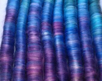 Rolag Puni- Deep Sea - purple dark blue teal  - spinning felting fiber milk fiber luxury