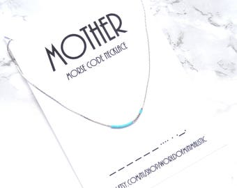 MOTHER morse code necklace, choker necklace, mother gift, custom morse code jewelry, dainty thin necklace, minimalist necklace