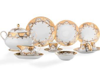 Gural Porselen Hand Made Dinner Set - 84 pieces - 12 person