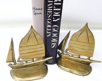 Vintage Brass Bookends | Sail Boat Bookends | Boat Bookends | Brass Sailboats | Ship Bookends | Metal Sail Boats | Brass Book Ends
