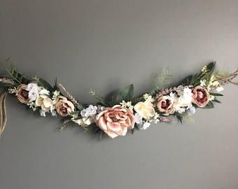 Flower garland, bohemian flower garland, letterboard garland, shower garland, floral wall hanging, chair garland, highchair banner, Nursery