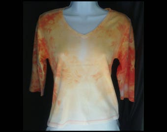 Acid washed medium shirt Mossimo long sleeve blouse tee bleached brown orange yellow mandarin citrus lemon carrot t-shirt (shirt no. 153)
