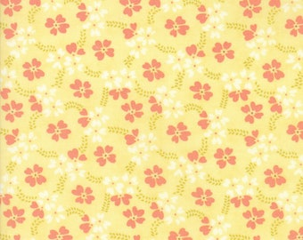 Fig Tree Fabric - Ella and Ollie Fabric Yardage - Moda Quilt Fabric - Coral & Yellow Floral Fabric By The 1/2 Yard -