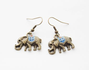 Elephant Earrings, Elephant Gifts, Elephant Jewelry, Brass Jewelry, Gift for her