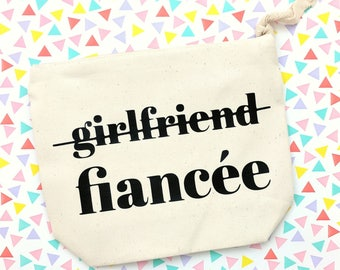 Girlfriend to Fiancee makeup bag, Mrs makeup bag, Feyonce pouch, Bride to Be gift, Engagement Gift, canvas zippered pouch, valentine's day