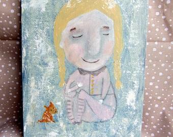 "GIRL - Original Acrylic Painting 18x24 cm, 7""x9"" Portrait Face Painting"