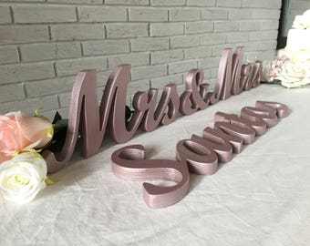 ROSE GOLD Personalized Family Name Sign, Personalized Sign LAST Name, last name custom sign. Wedding name sign.
