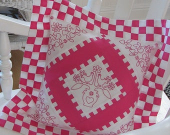 Pretty In Pink Embroidered and Pieced Pillow Pattern - Checkerboard Four Patch - PDF Download