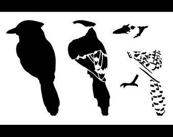 "Blue Jay Layered Bird Stencil - Back - 10"" x 6 1/2"" - SKU:STCL764_2"