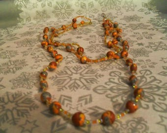beautiful necklace crew-neck and long 2 in 1 orange, gold and gray