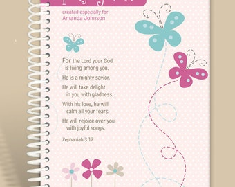 Personalized Journal - Girly Girl - Zephaniah 3:17