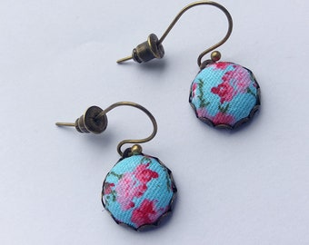 Turquoise and Pink -  Floral Fabric Earrings.