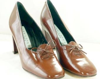 Brown Leather Driver Pump Designer Pura Lopez Unworn 10B