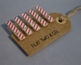 Candy cane striped pegs | pack of 6 medium clothes pegs
