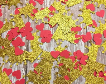 Crown and heart confetti, red and gold, gold tiara crown, red heart confetti, baby shower, glitter decorations, party table scatter, bling