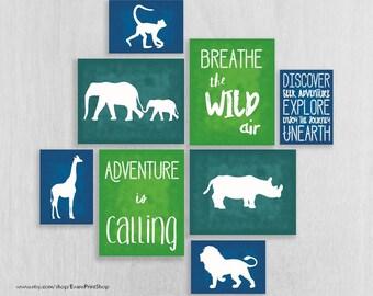 Safari Nursery Art Prints Set of 8 - Adventure Nursery - Jungle Wall Art - Childrens Art Print - Safari Wall Art - Playroom Decor