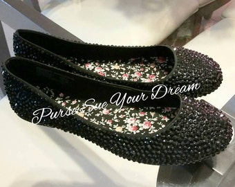 Custom Jet Black Swarovski Crystal Rhinestone Ballet Flats Shoes - Wedding Flat Shoes - Swarovski Crystal Rhinestone Shoes