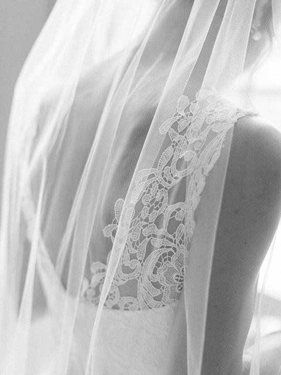 Fingertip Length Wedding Bridal Veil White Ivory Cut Tulle