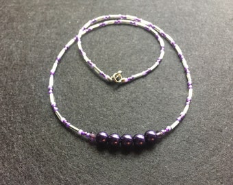 Dark purple and silver bead necklace