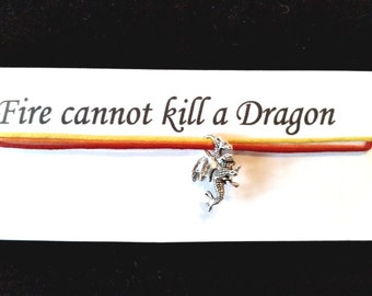 GAME of THRONES BRACELET on waxed cotton cord Or Silver Plated Key Ring Or Silver Plated Necklace |Or Black Velveteen Choker
