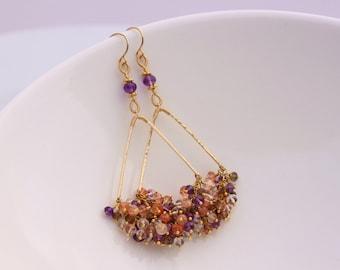 AAA Amethyst Andalusite White Topaz Sunstone Earrings, 14k Gold Filled, Chandelier Earrings, Gemstone Cluster Earrings