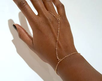 Gold Hand Chain Bracelet, Body Chain Jewelry, Bohemian Hand Chain Ring, Satellite Dotted Chain, Festival Hand Chain, Festival Jewelry