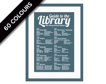 Dewey Decimal System - Art Print - Library Poster - School Poster - Book Lover - Librarian Gift - Typography Poster - Education Infographic