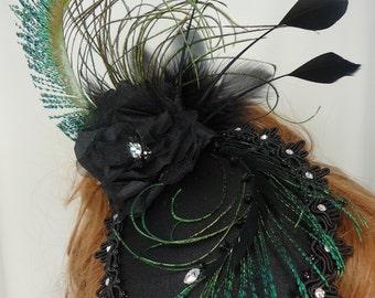 Fascinator Hat, Black Mini Hat, Teardrop Hat, Wedding Fascinator, REX15-3017