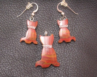 Blood Red Onyx Cat Pendant and Earring Set/ sterling silver wire wrapped