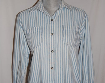 S Blue and White Striped Oxford with Pearl Buttons Size Small