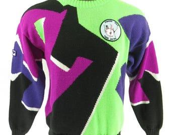 Vintage 80s Obermeyer Ski Sweater M Retro Skiing Neon Time Machine [H66K_1-11_Shelf]