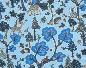 SS18 Liberty fabric  Tana Lawn Doe A Deer 9x26'' fat eighth -  blue - NEW The Alpine Symphony Collection