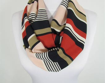 Striped Scarf Infinity Scarf Circle Scarf Loop Spring Fall Winter Scarf  Fashion Accessories Gift For Women 86 Gift For Women Gift For Her