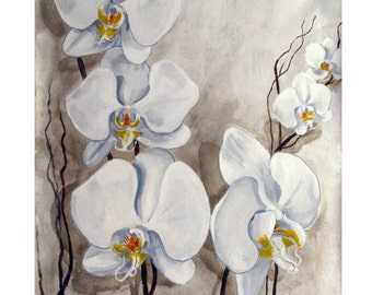 White Orchids, Serenity Flower Wisdom bouquet Zen, Original illustration Artist Print wall Art, Free Shipping in USA.