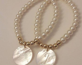 Mother Pearl Disk for necklace without initial..