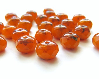 Milky Tangerine Orange Faceted Rondelle Czech Glass Beads with Picasso Finish, 9mm x 6mm - 25 pieces