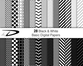 28 Black and White Digital paper, black and white wallpaper, Printable Pattern Print, Instant Download, Patterns Scrapbook, commercial use
