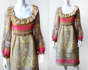 Vintage 1970's Victor Costa ROMANTICA Quilted Ruffled Dress
