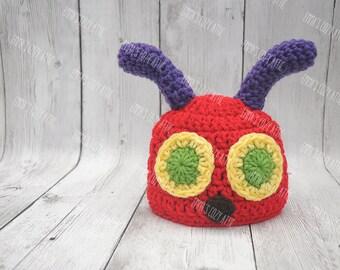 Crochet caterpillar hat, newborn caterpillar hat, baby caterpillar hat, newborn baby photo prop, caterpillar