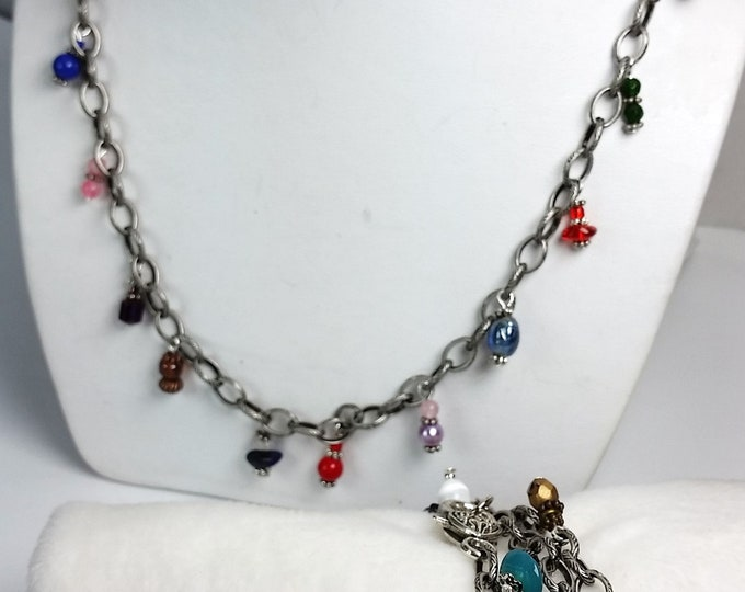 Rainbow Bracelet or Necklace - Antique Silver Chain with Colorful Dangles - Charm Necklace - Charm Bracelet - Combo Jewelry