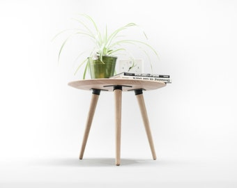 Coffee table, round table , side table ,  made of solid oak board
