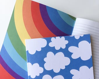 Blue Clouds and Rainbows notebook / A5 notebook / rainbow notebook / novelty notebook / lined notebook / recycled paper notebook