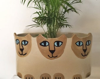 Custom Cat pottery planter: Made  to Order feline decor handmade jardiniere herb planter stoneware ready choose markings and sizes
